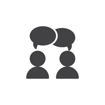 Collaboration, Conversation icon vector, filled flat sign, solid pictogram isolated on white. Chat, forum symbol, logo illustration. Pixel perfect