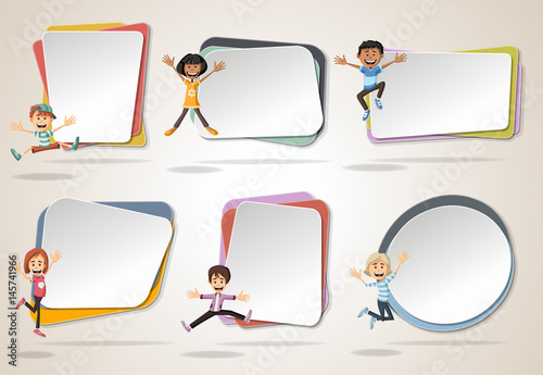 Vector banners / backgrounds with cartoon kids jumping. Design text ...