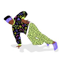 80s and 90s style street break dancer