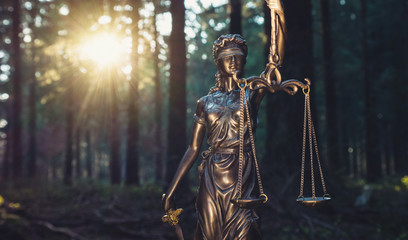 Lady Justice Statue in the woods