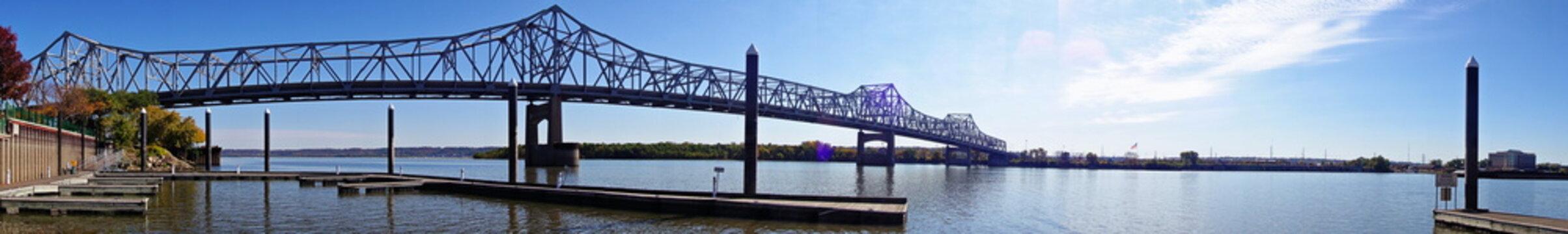 Horizontal panorama of a steel bridge in Youngstown Ohio.