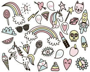 Set of tender pastel colored funny retro style stickers.
