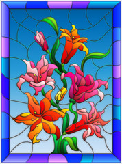 Illustration in stained glass style with flowers, buds and leaves of Lily