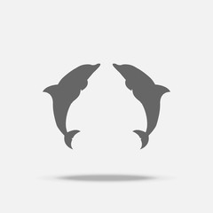 Twin Dolphins Flat design vector icon with shadow