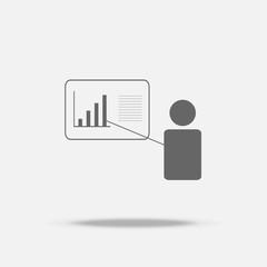 Presentation businessman Flat design vector icon with shadow