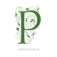 P letter floral design. Creative letter vector logo design. Letter decorated with swirls and flowers ornaments