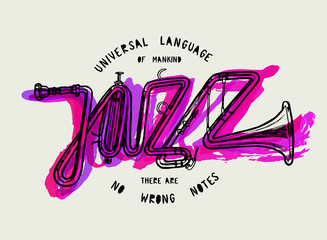 Wall Mural - jazz trumpet word in purple paint splashes poster