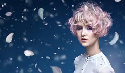 Printed kitchen splashbacks Artist KB Beautiful lady with a fabulous coiffure