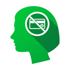 Isolated female head with  a credit card  in a not allowed signal