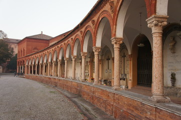 A building inside the cemetery in Ferrare, Italy