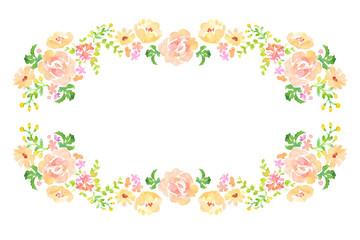 花の枠 手描き水彩