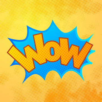 WOW comics sound effect with halftone pattern on yellow
