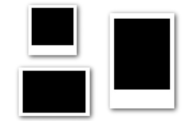 Set of photo frames with tape, isolated on white backgrounds