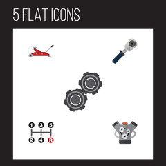 Flat Workshop Set Of Carrying, Motor, Lifting And Other Vector Objects. Also Includes Carrying, Belt, Jack Elements.
