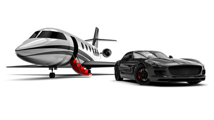 Private Jet and private sport car  / 3D render image representing an sport car with a red carpet and an airplane