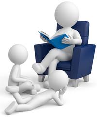 weisses 3d Männchen beim Vorlesen