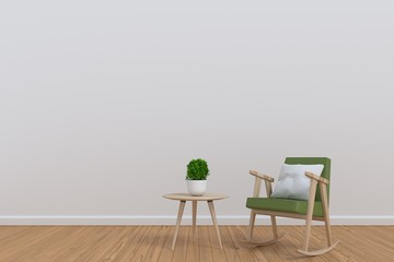 White interior with plant green chair and small table, 3D rendering