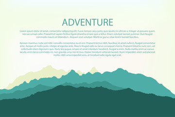 Adventure. Mountain background landscape, hills silhouette. Vector