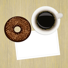 Breakfast with donut and cup of coffee