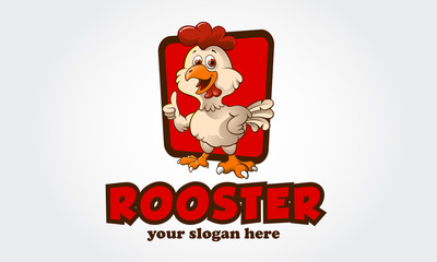 Funny Cartoon Rooster chicken giving a thumbs up, vector logo illustration