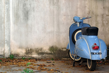 Scooter Blue Retro Scooter on old wall