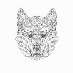 Vector dog in thin line style. Abstract low poly animal. Wolf face silhouette for banner, adult coloring book pages and printing on t-shirts.