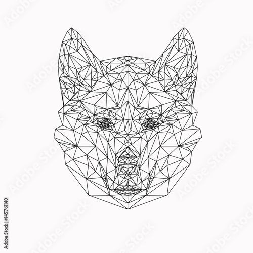 Vector Dog In Thin Line Style Abstract Low Poly Animal Wolf Face Silhouette For
