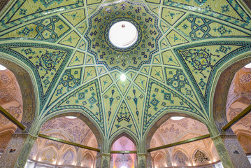 mosaic ceiling of Sultan Mir Ahmed Bathhouse in Kashan, Iran