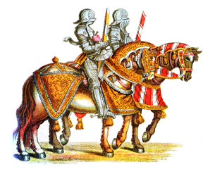 Middle ages knights at the tournament, XVI century