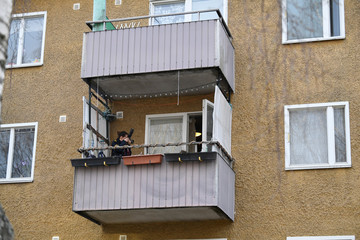 A police photographer takes pictures during a house search in an apartment in Varberg south west of Stockholm