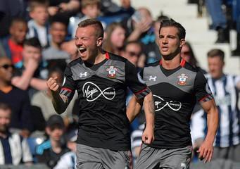 Southampton's Jordy Clasie celebrates scoring their first goal with Cedric Soares