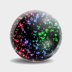 Glass ball in which flies a flock of rainbow butterflies