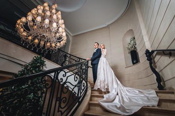 Bride and groom are standing on the stairs with forged handrails.