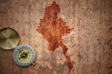 map of myanmar on a old vintage crack paper