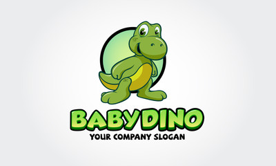 Cute baby dinosaur cartoon. Awesome and Unique Logo for your playful company. Vector logo illustration.