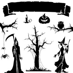 Halloween icon. Silhouette of witch , spider web , pumpkin,skeleton,candle.Halloween backgrund symbol and element.