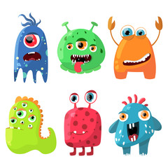 Cute cartoon monsters set. Collection for any design, card, poster, invitation. Vector illustration.