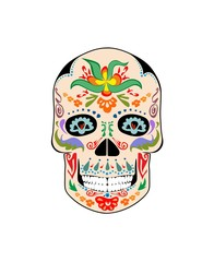 Mexican vintage skull with flowers print
