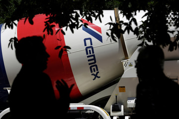 Concrete mixer truck of Mexican cement maker CEMEX is seen outside the auditorium where the company holds its annual shareholders meeting, in Monterrey