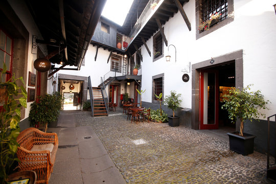 A general view shows the patio at the Blandy's wine cellar in Funchal