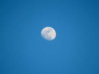 Moon in the fourth quarter on a blue sky