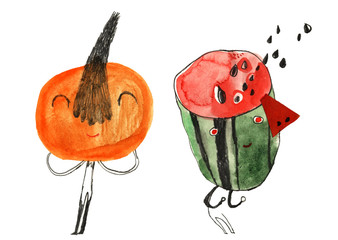 watercolor cartoon fruits illustration