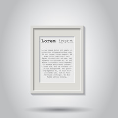 Realistic photo frame isolated on grey background. Pictures frame vector illustration.