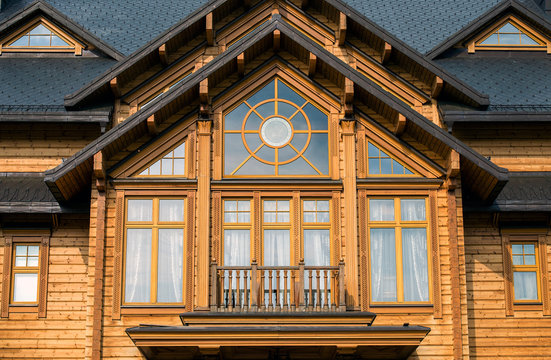 large window in a wooden house