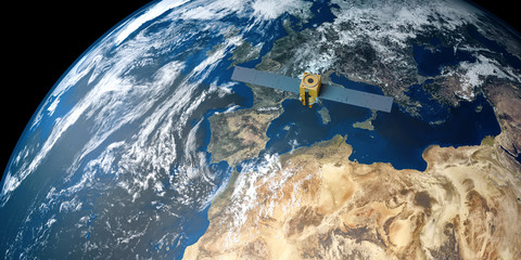 Extremely detailed and realistic high resolution 3D image of a Satellite orbiting Earth above Europe. Shot from outer space. Elements of this image are furnished by NASA.