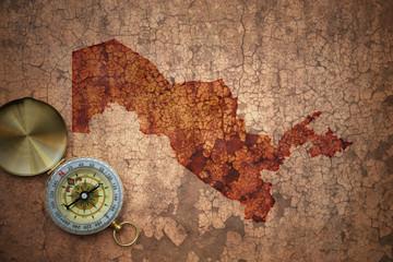 map of uzbekistan on a old vintage crack paper