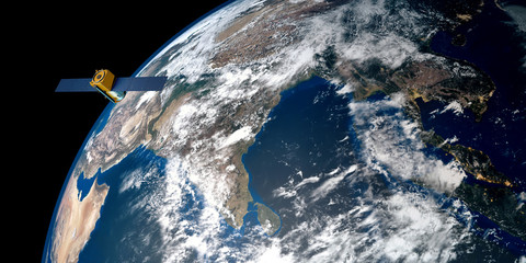 Extremely detailed and realistic high resolution 3D image of a Satellite orbiting Earth above India. Shot from outer space. Elements of this image are furnished by NASA.