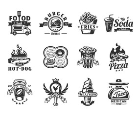 Set of vector black fast food icons, badges with food truck, hamburger, pizza, ice cream, hot dog, roast chicken, french fries, taco, donut, coffee and pop corn