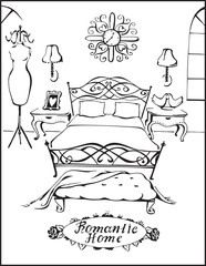 Romantic Home. Bedroom. Vector illustration of vintage interior  with  bed, pictures, lamps, clothes hanger and stool with blanket. Black line silhouette.