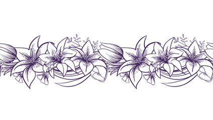 Lilies and tulips. Monochrome vector seamless border. Print with flowers.